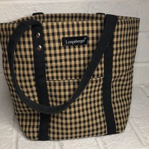 Longaberger Small Black and Tan Gingham Tote